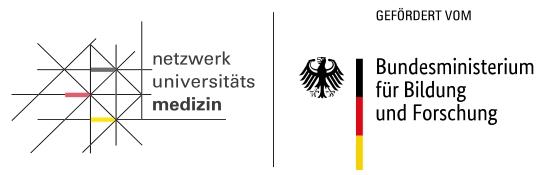 Logos: Netzwerk Universitätsmedizin & Bundesministerium für Bildung und Forschung